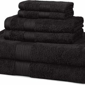 AmazonBasics 6-Piece Fade-Resistant Bath Towel Set - Black