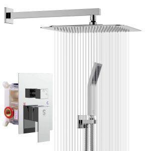 Bathroom Luxury Rain Mixer Shower Combo Set Wall Mounted Rainfall Shower Head