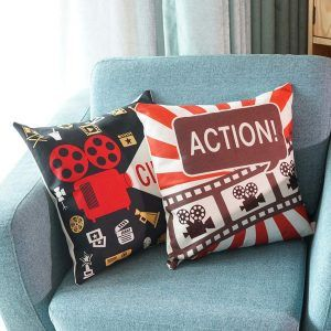 Uarter Movie Theater Decorations Cinema Throw Pillow Covers Cushion Cover with Invisible Zipper